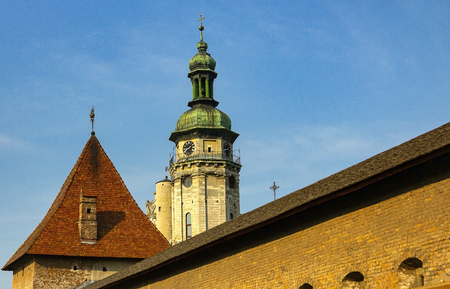 chapel of the old town on a blue sky.