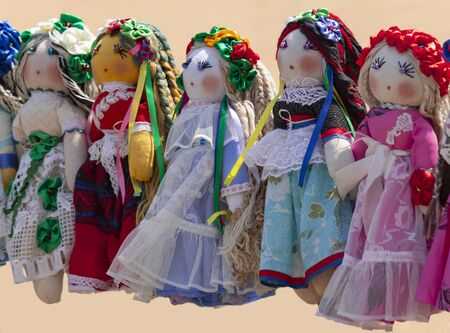 Handmade dolls are sewn in national style.