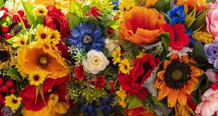 Handmade artificial flowers in a bouquet. Banco de Imagens