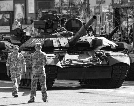 Kiev Ukraine Aug. 22, 2018: T 64 on military parade training. Day of Ukraine. Kiev, Agu 22, 2018. Editorial
