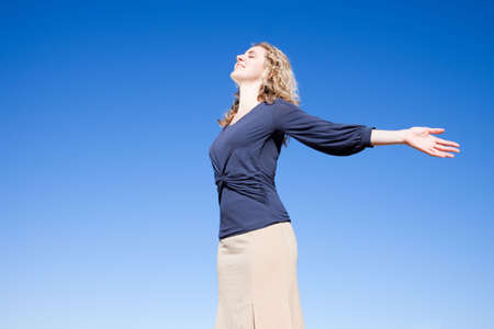 excited business woman: Time to breathe