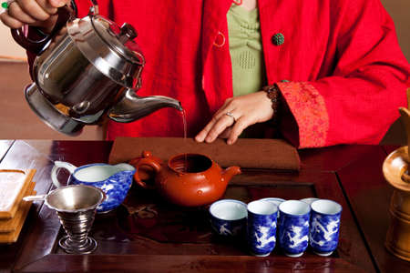 red tea: Tea being made in a traditional way