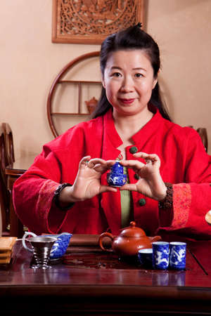 Attractive woman inside a traditional tea house