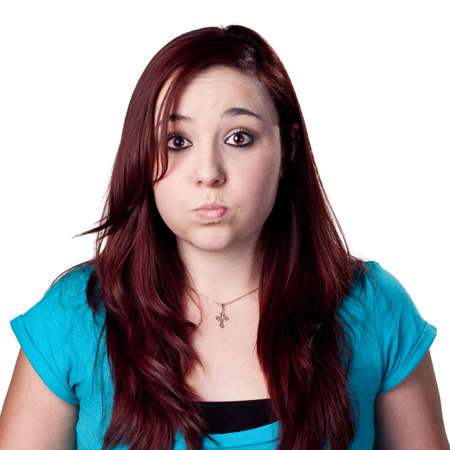 Red headed woman makes a funny face