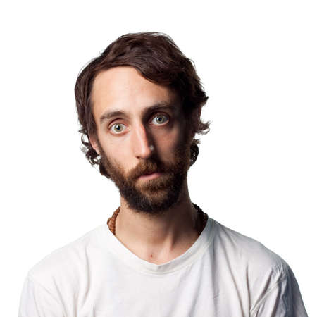 Man with beard stares Stock Photo