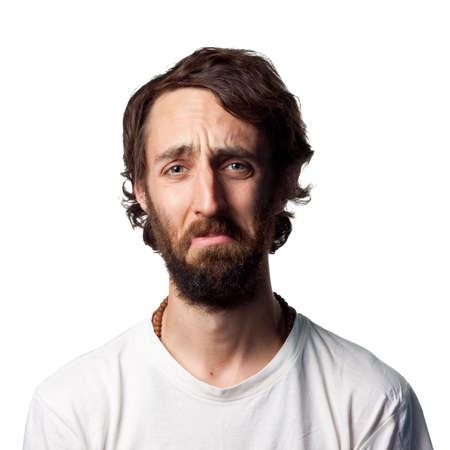 Man with beard is upset