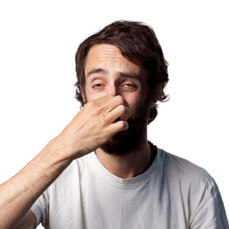imitations: Man covers his nose due to a bad smell