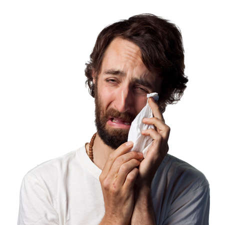 facial tissue: Young actor cries Stock Photo
