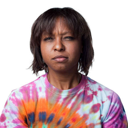 dubious: Attractive African American is dubious Stock Photo