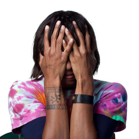 A scared african american woman Stock Photo