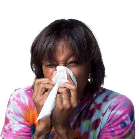 sneezing: Starnuti in un tessuto Archivio Fotografico