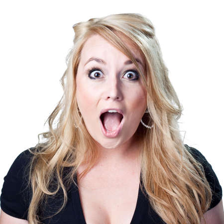 Blond lady is shocked Stock Photo