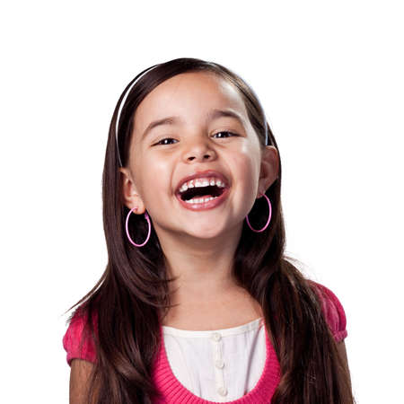 loud: Girl laughing out loud Stock Photo