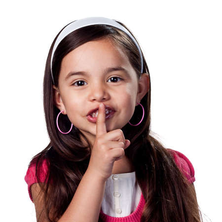 Young girl with fingers on lips photo