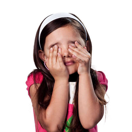 children acting: Girl covering her eyes