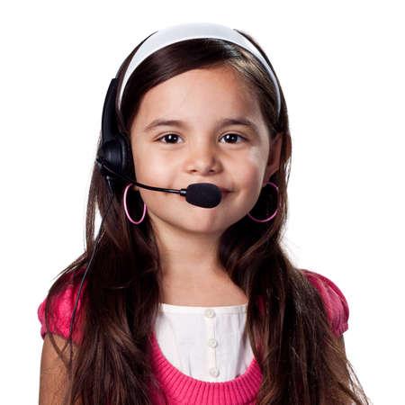 Girl talking over skype or other internet chat medium