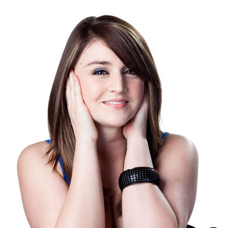 loud noise: Attractive woman covers ears due to loud noise Stock Photo