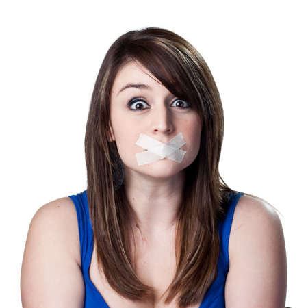 voiceless: Woman with tape over her mouth