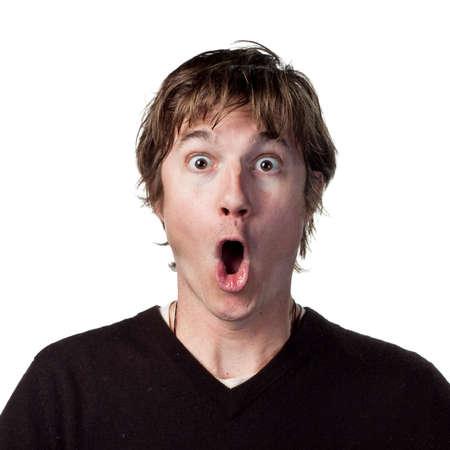 cara sorpresa: Vistazo de la sorpresa en este mans cara