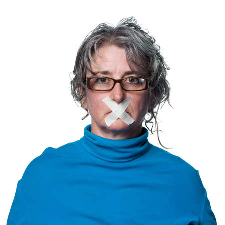 silenced: Woman with tape across her mouth, being silenced