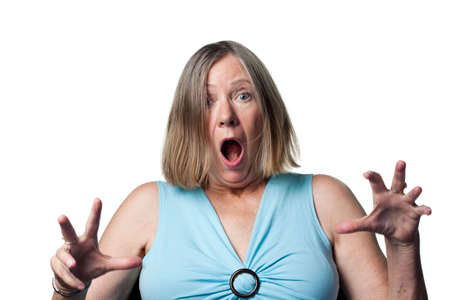 old people: A huge reaction from an older lady, she won a prize Stock Photo