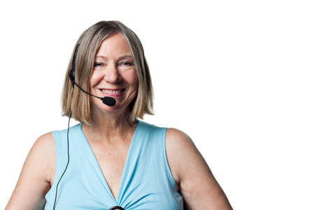 oap: Smiling portrait of a telephone worker, happy and content