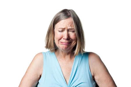 Oudere vrouw huilen, tranen en over het algemeen boos Stockfoto