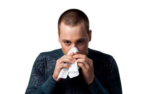 man with tissue, isolated studio image, part of series