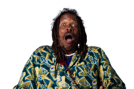 Surprised reaction from Rastafarian man, isolated images photo
