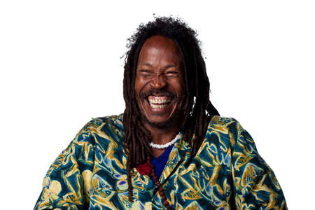 hilarity: Rasta man laughing out loud, isolated image