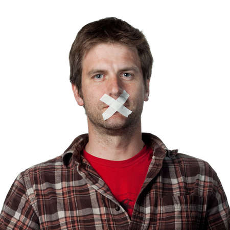 silenced: Young voiceless voter, silenced from speaking Stock Photo