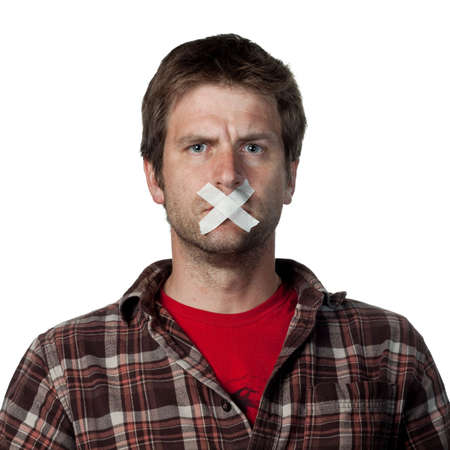 voter: Young voiceless voter, silenced from speaking Stock Photo