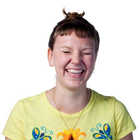 laughing out loud: Mujer visiblemente divertida, riendo a carcajadas, aislado de imagen