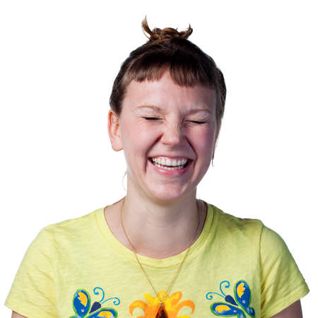 amused: Woman visibly amused, laughing out loud, isolated image
