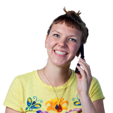 flip phone: Young woman talking on a cell phone Stock Photo