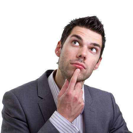 man thinking: Attrayante jeune homme pense s�rieusement � un probl�me Banque d'images
