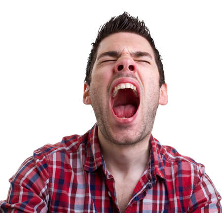 screaming head: Young man with a cold about to sneeze