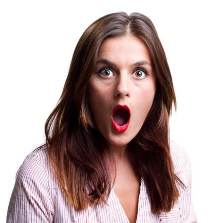 femme bouche ouverte: La femme donne la caméra un regard d'incrédulité