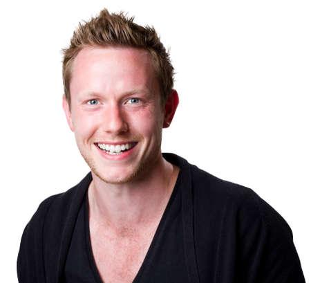 blonde yeux bleus: Combo de bonne allure jeune homme souriant Banque d'images