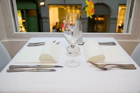 table: restaurant table setting for two people Stock Photo