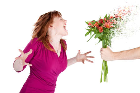 romance image: Woman rejects flowers and shouts at her man