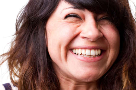 loud: Beautiful woman laughs out loud with joy Stock Photo