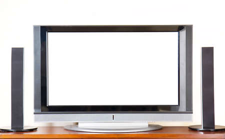 tv screen: Huge Plasma  LCD TV with surroundsound system, copyspace Stock Photo