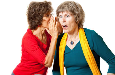 woman mouth open: Senior gossip