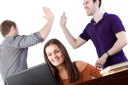 Three happy 20 somethings react to some fantastic news Stock Photo - 12040161