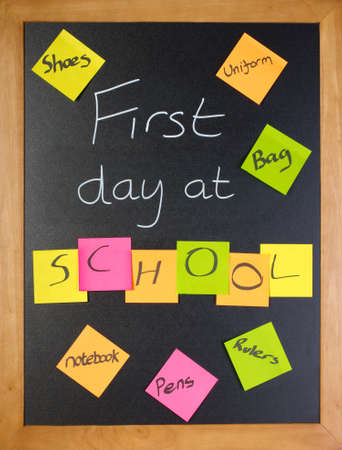 A list of all the things a student might need for their first day of school Stock Photo - 12040104