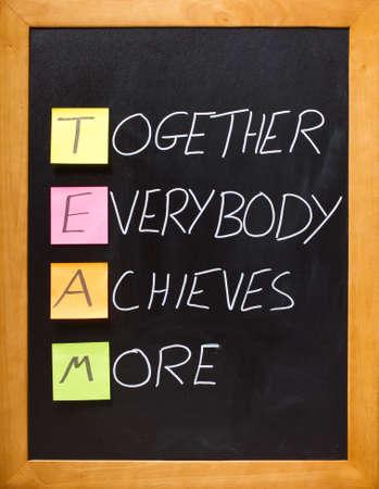 trabajo de equipo: Acr�nimo divertido, el equipo de motivaci�n en la pizarra de un aula