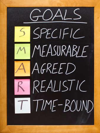 goals: das Akronym SMART auf einer schwarzen Tafel mit Kreide und Haftnotizen Lizenzfreie Bilder