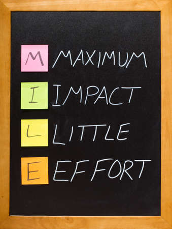 Blackboard with Maximum Impact Little Effort acronym Stock Photo - 12040094