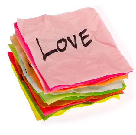 romance strategies: stack of life options and choices isolated on white Stock Photo